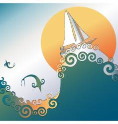 sailboat in ocean vector image vector image