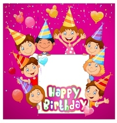 Birthday background with happy children vector image