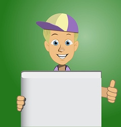 Boy holding a blank book vector