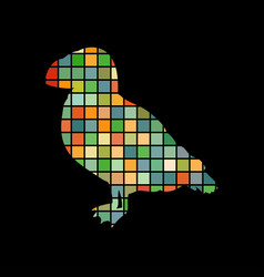 puffin bird mosaic color silhouette animal vector image