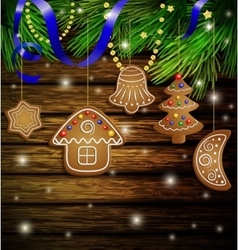 gingerbread cookies decorations vector image