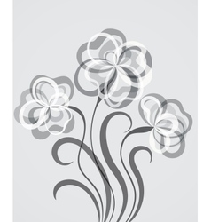 Grayscale EPS10 background with abstract flowers vector image vector image