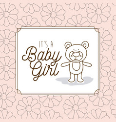 its a baby girl frame with bear teddy vector image
