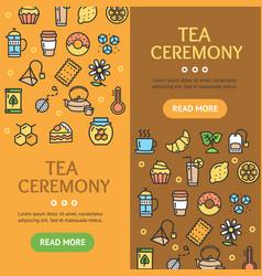 tea ceremony banner vecrtical set vector image