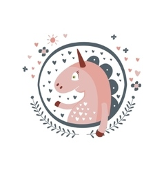 Unicorn Fairy Tale Character Girly Sticker In vector image