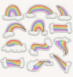 cute rainbow sticker set rainbow cartoon vector image vector image