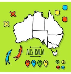 Freehand Australia travel map on green background vector image