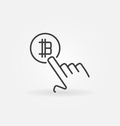 hand pointing bitcoin concept line icon vector image vector image