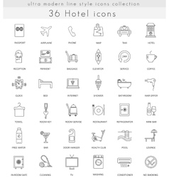 Hotel ultra modern outline line icons for vector image vector image