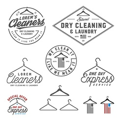 Vintage dry cleaning emblems and design elements vector image