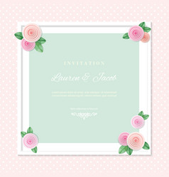 white square frame decorated with roses on polka vector image vector image