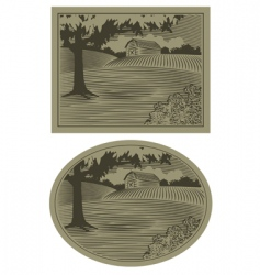 woodcut barn scene vector image vector image