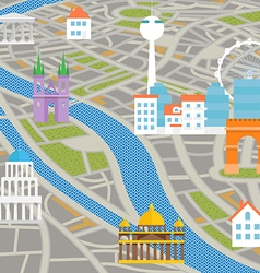 Abstract city map with silhouettes of houses vector