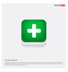 add plus icon green web button vector image