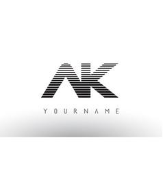 ak black and white horizontal stripes letter logo vector image