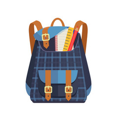 backpack for kid with school stationery accessory vector image