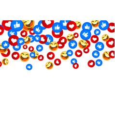 banner fly like emoji hand social network white vector image