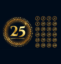 beautiful gold anniversary labels in premium style vector image
