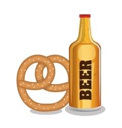 Beer and pretzels food tradicional oktoberfest vector