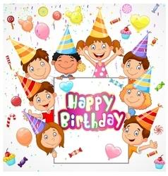 Birthday background with happy children vector