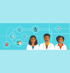 black doctors team with medical icons vector image