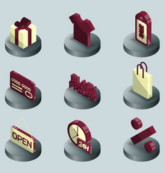black friday color isometric icons vector image