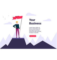 businessman holds flag stand on top mountain vector image