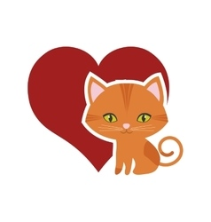 cat feline curious small red heart vector image vector image