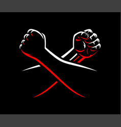 Clenched fists fight mma wrestling kick boxing vector