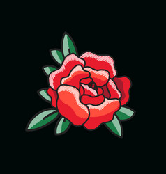 closeup of single red rose on vector image