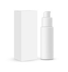 Cosmetic pump bottle with paper box mockup vector
