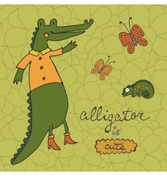 Cute alligator character with butterflies and vector image