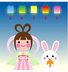 Cute cartoon mid autumn festival card vector