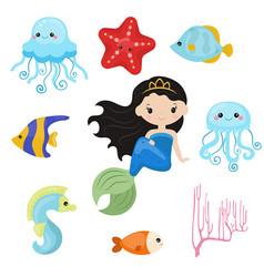 Cute girl mermaid cute girl mermaid vector