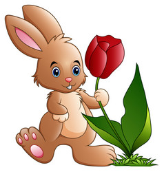 Cute little bunny cartoon holding a flower vector