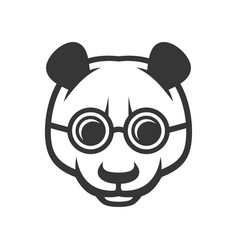 cute panda face with glasses icon logo vector image