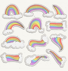 Cute rainbow sticker set rainbow cartoon vector