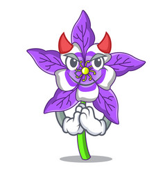 Devil columbine flower mascot cartoon vector