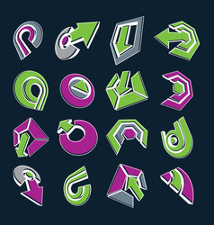 Dimensional green and purple app buttons vector