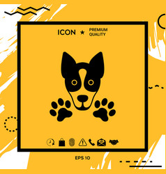 Dog paw logo symbol protect sign vector