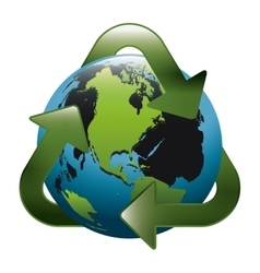 Earth world map with recycling symbol vector