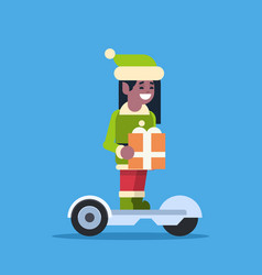 elf girl santa claus helper ride electric scooter vector image