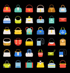 fashion bag flat design icon in various style set vector image