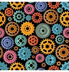 Flat Style Color Gears Pattern vector image