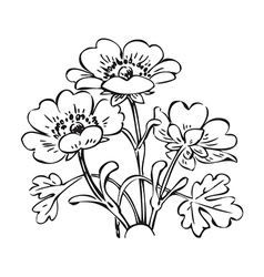 Floral bush retro black on white hand drawn vector