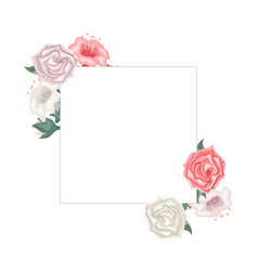 floral frame with roses and tulips vector image