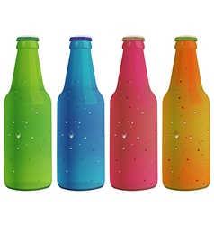 Four colorful bottles vector