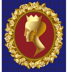 gold profile of queen vector image