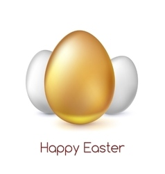 Golden and white Easter eggs vector