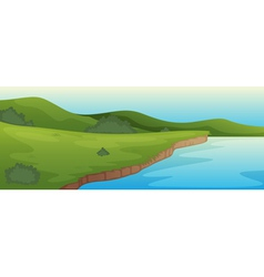green landscape and lake vector image